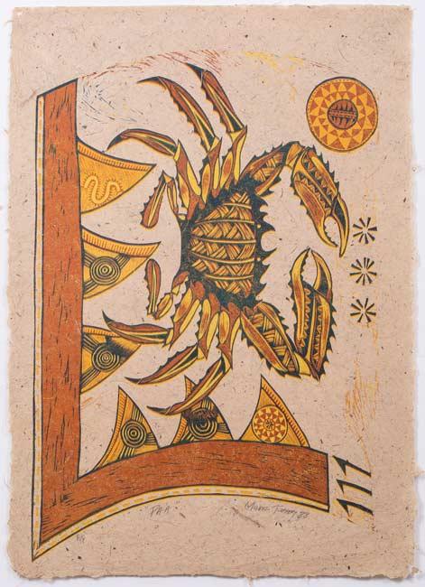 Pa'a (1988) Woodcut on Handmade Harakeke Paper