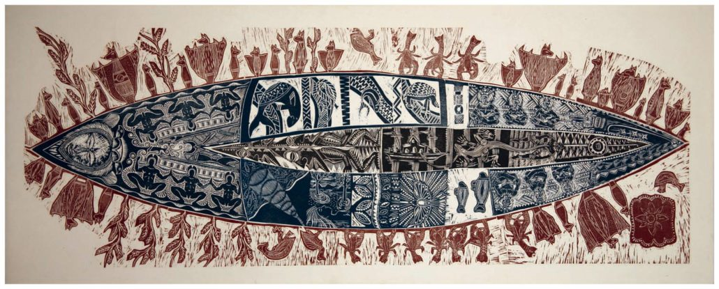1998-A-Canoe-of-Many-Passengers_Woodcut_on-Tapa