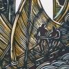W for Waka Takitimu hand coloured print detail