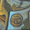 ookie in Te Wai Pounamu meets Cook Strait painting detail
