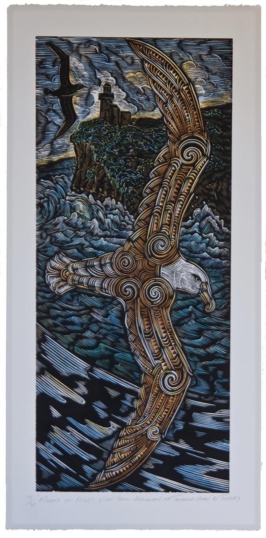 Moana-in-flight-view-from-Aramoana-of-Taiaroa-Head_2018 by Michel Tuffery