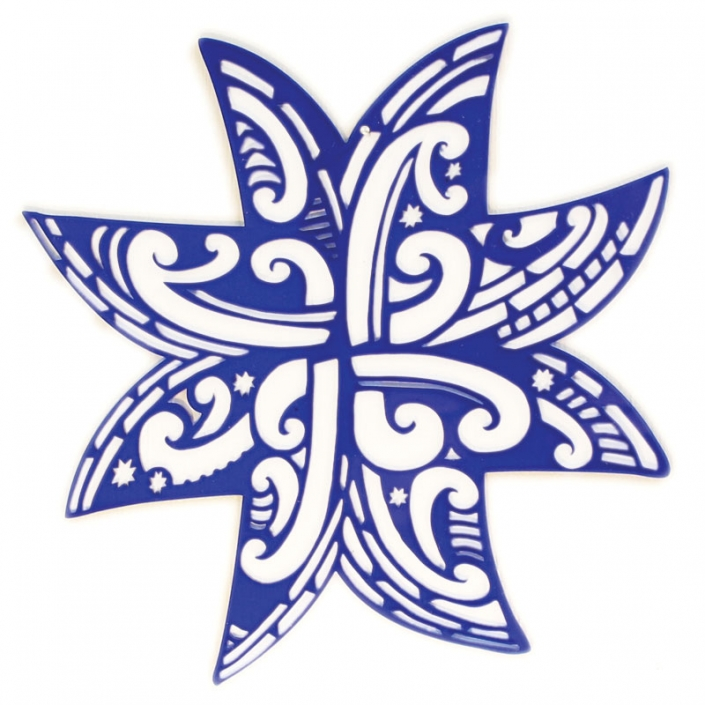 Koru-Whetu-Matariki-star-Blue-Acrylic-Front Michel Tuffery