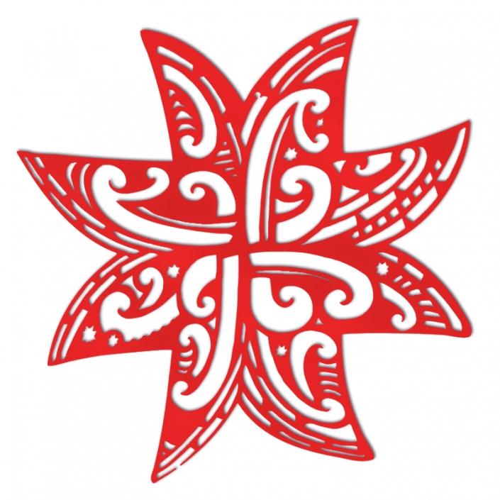 Koru Whetu Matariki lasercut in red acrylic