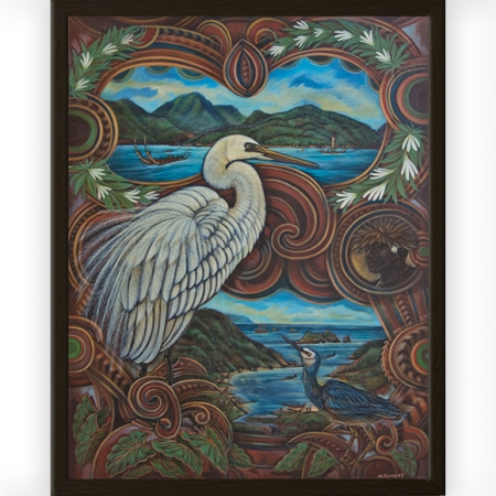 The Messenger from Raiatea to Uawa painting by Michel Tuffery