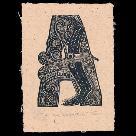 A For Albatross print on Harakeke paper