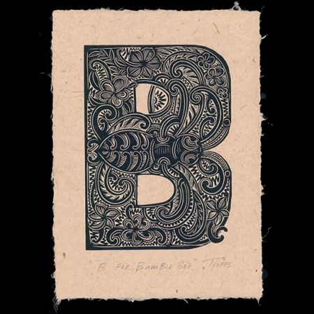 B for Bumble Bee print on Harakeke paper