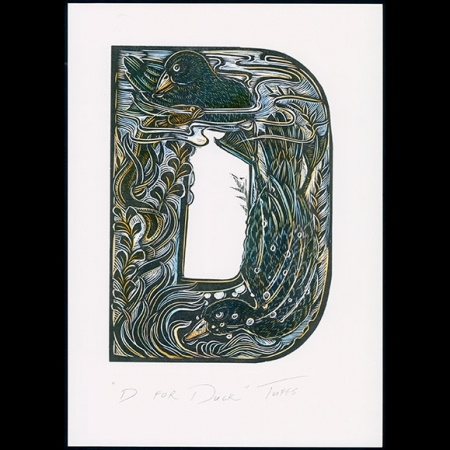 D for Duck hand coloured print