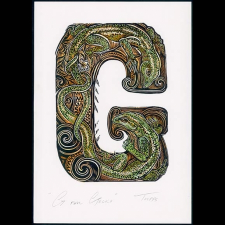G for Gecko hand coloured print