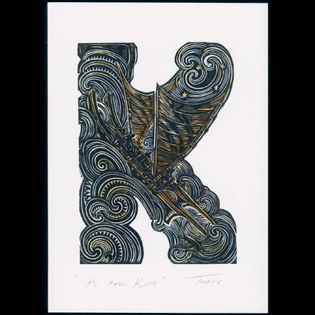 K for Kupe hand coloured print
