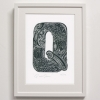 Q for Quail Print Framed