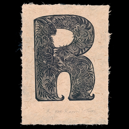 R For Rapeti print on Harakeke paper