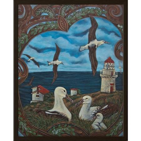 Toroa Whānau survey view, Taiaroa Head painting by Michel Tuffery