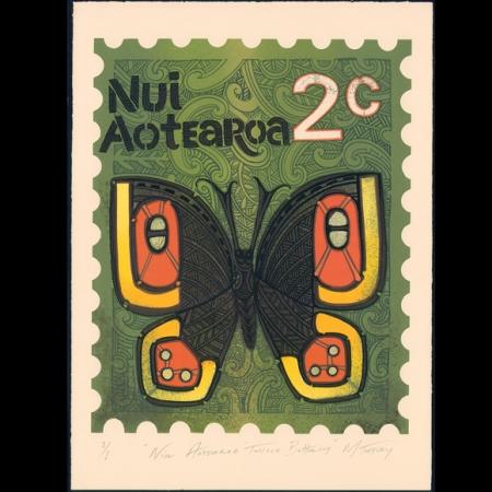 Niu Aotearoa Tussock Butterfly Stamp Print