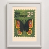 Niu Aotearoa Tussock Butterfly Stamp Print Framed