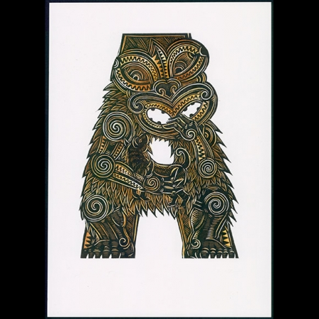 Hand Coloured A for Aotearoa print by Michel Tuffery