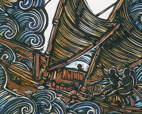 W for Waka Hourua handcoloured Michel Tuffery