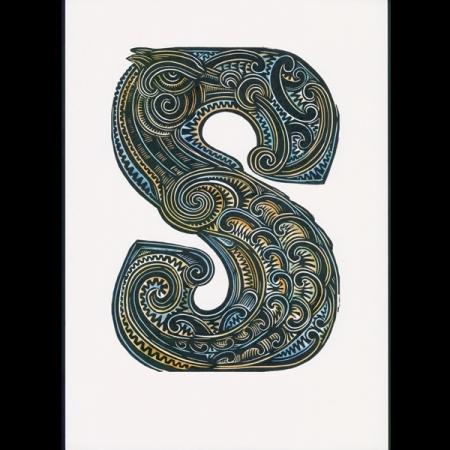 S is for Seahorse handcoloured Michel Tuffery