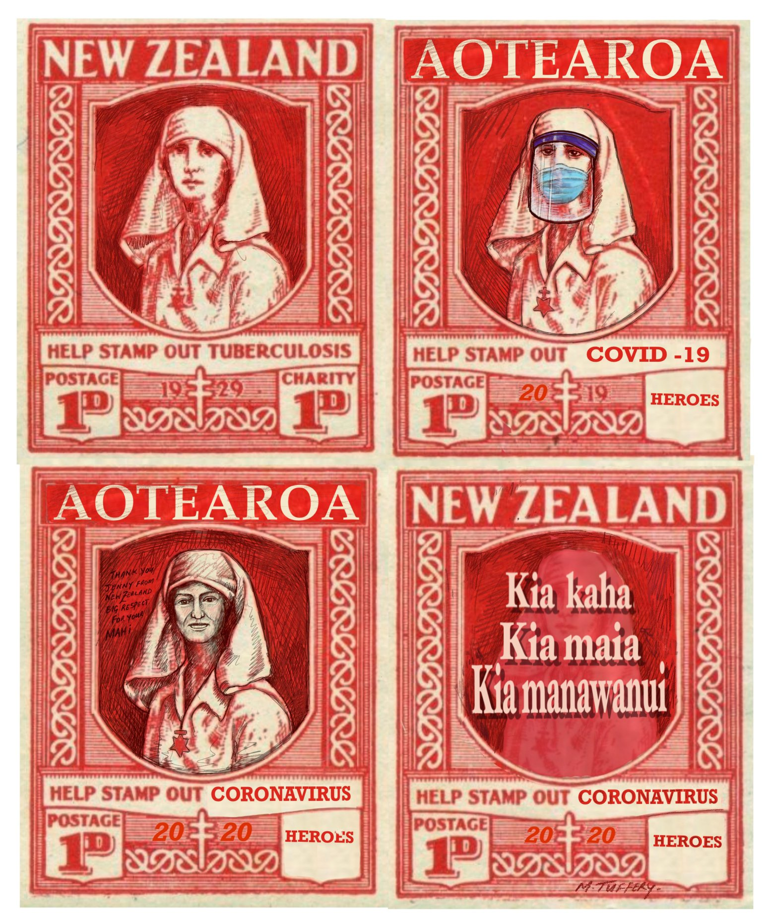 Kiwi Hero Nurses by Michel Tuffery