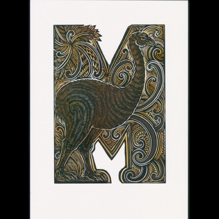 M for Moa handcoloured Michel Tuffery